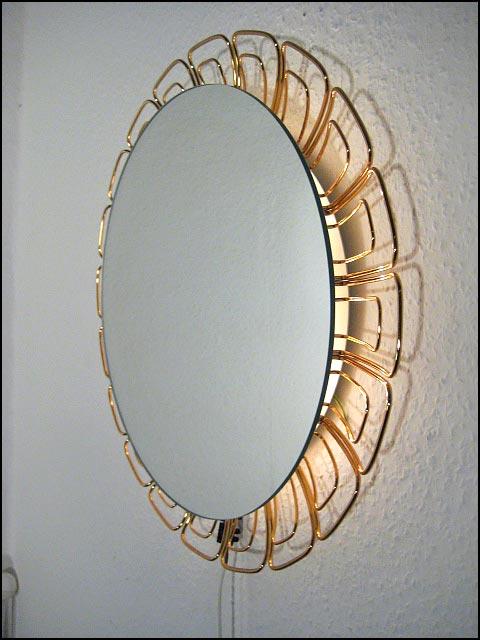 gro er runder draht spiegel mit beleuchtung 60s 70s ebay. Black Bedroom Furniture Sets. Home Design Ideas