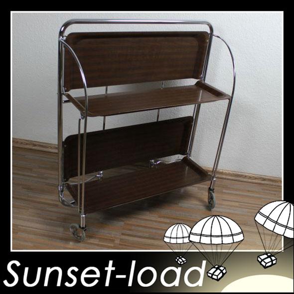 dinett resopal holzfarben chrom teewagen servierwagen klappbar ebay. Black Bedroom Furniture Sets. Home Design Ideas