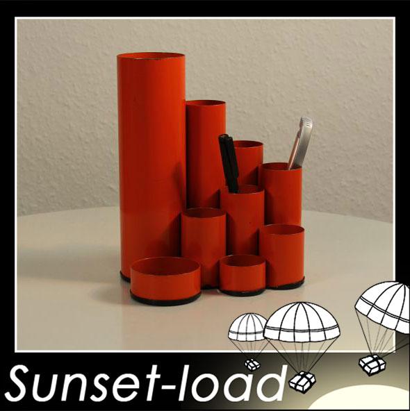 Schreibtisch utensilo r hrenform orange metall 60er 70er for Schreibtisch utensilo