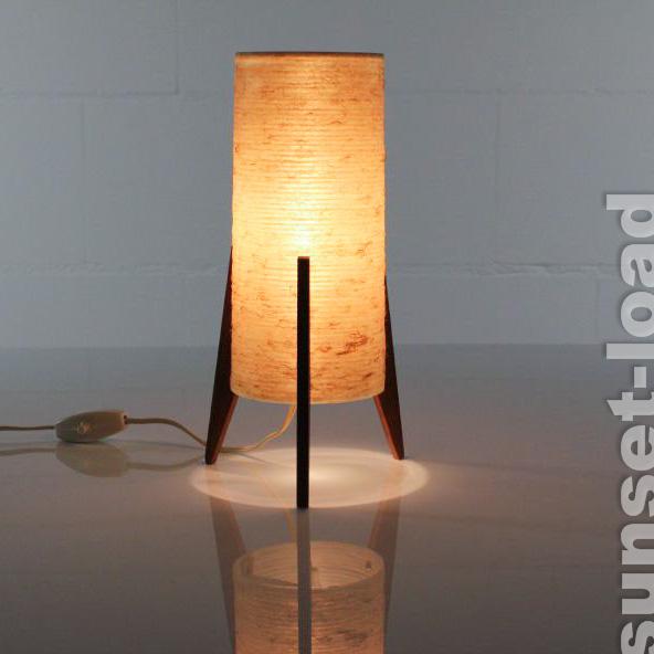 glasfaser teak rakete alte tisch lampe nachttisch leuchte50er 60er jahre tripod ebay. Black Bedroom Furniture Sets. Home Design Ideas