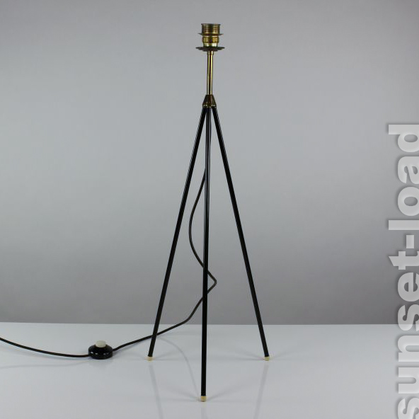 tripod boden lampe dreibein alte 50er jahre steh leuchte ohne schirm vintage alt ebay. Black Bedroom Furniture Sets. Home Design Ideas