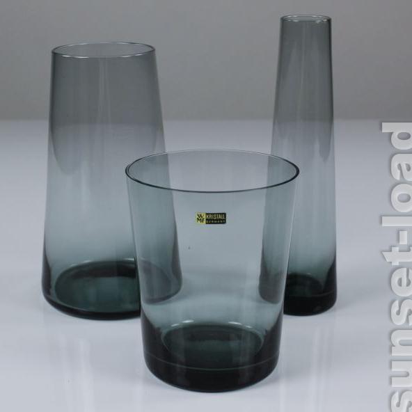 Wilhelm-Wagenfeld-WMF-Trio-Terzett-Glas-turmalin-2-alte-50er-Jahre-Vasen-alt