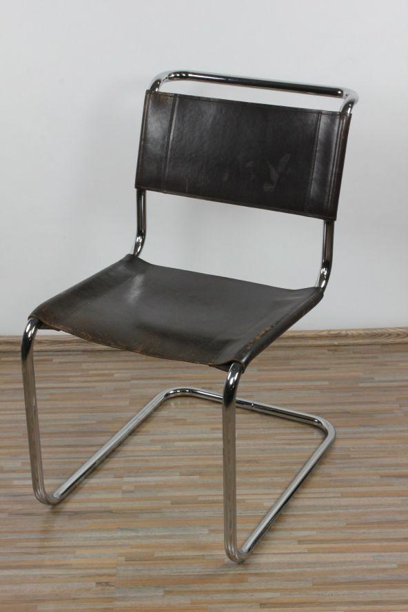 freischwinger thonet s33 patinaleder mart stam 1926 bauhaus stahlrohr stuhl 3 3 ebay. Black Bedroom Furniture Sets. Home Design Ideas