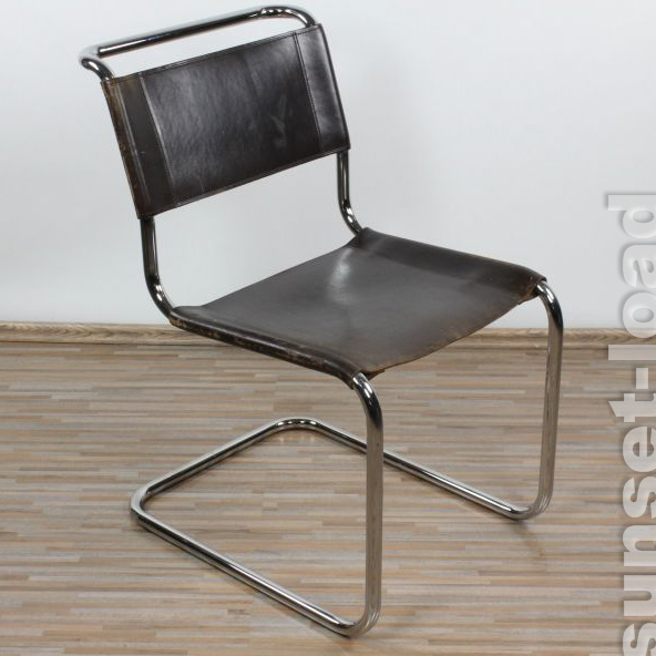 freischwinger thonet s33 patinaleder mart stam 1926 bauhaus stahlrohr stuhl 3 3 ebay. Black Bedroom Furniture Sets. Home Design Ideas