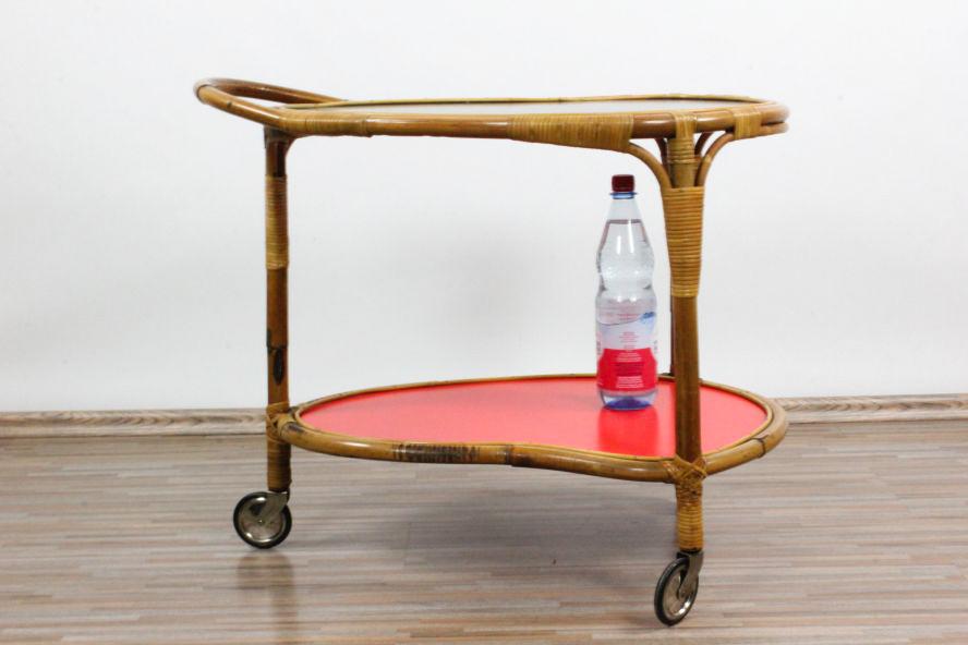 tiki serving bar cart bamboo age kidney table rolls 50er years vintage old ebay. Black Bedroom Furniture Sets. Home Design Ideas