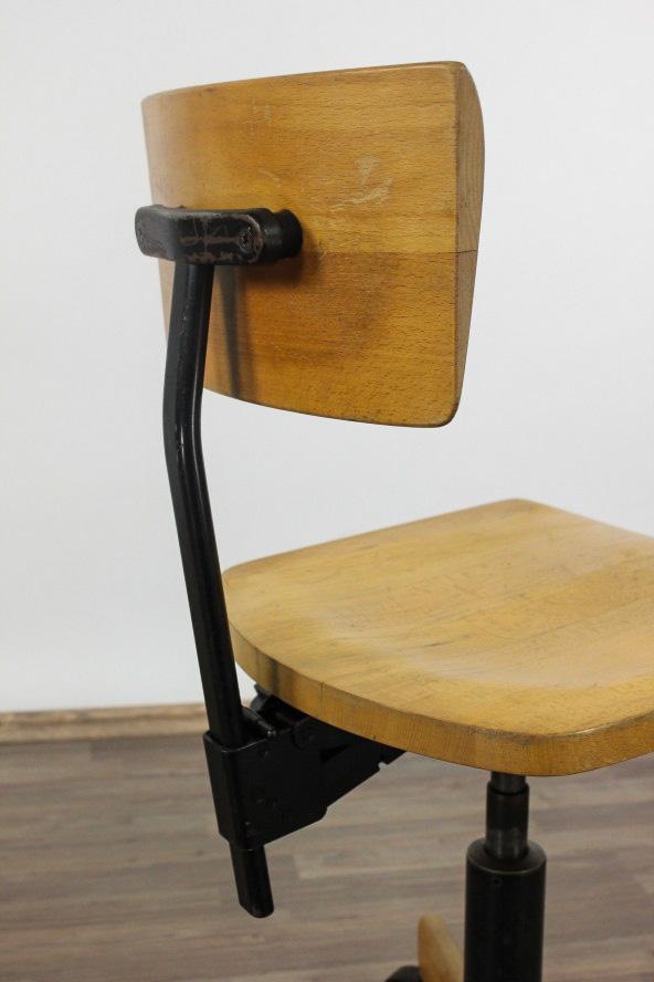 Bureau atelier architectes chaise giroflex bois h henverstellb 50er 60er ans - Chaise bureau architecte ...