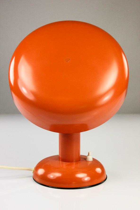 vieux champignon lampe de chevet orange lis lampe m tal vintage 60er ann es 70er design. Black Bedroom Furniture Sets. Home Design Ideas