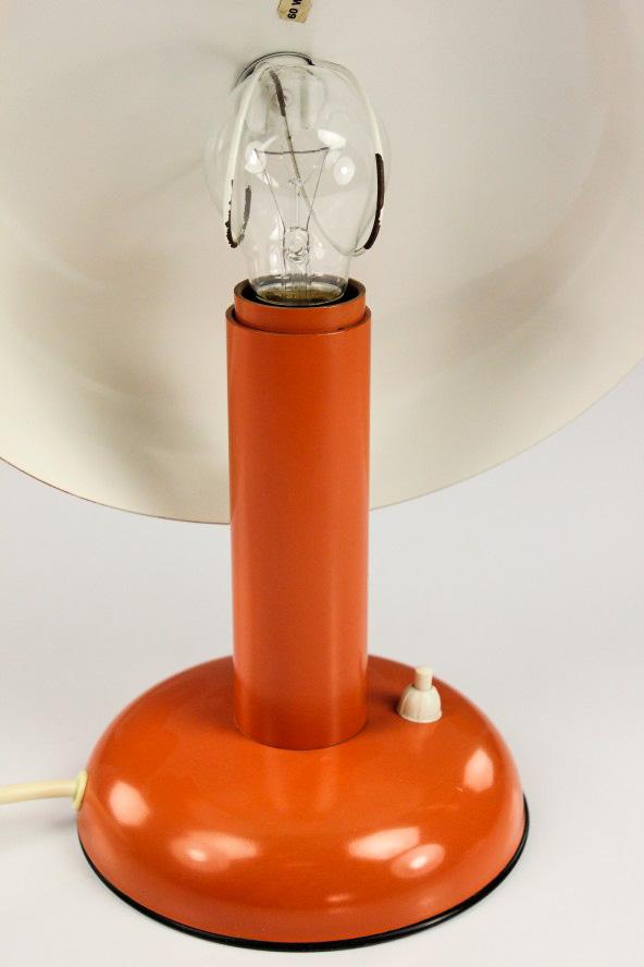 vieux champignon lampe de chevet orange lis lampe m tal vintage 60er ann es 70er design ebay. Black Bedroom Furniture Sets. Home Design Ideas