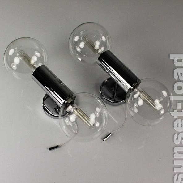 paar staff wand lampen stab kugel system leuchten motoko ishii chrom glas 70er ebay. Black Bedroom Furniture Sets. Home Design Ideas