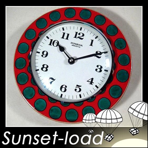 60er-Jahre-Dugena-Uhr-rot-mit-gruenen-Punkten-Mehr-SHOP